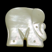 White Shell Pendant, Elephant, 23x25x4mm, Hole:Approx 1mm, 5PCs/Lot, Sold By Lot
