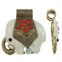 Zinc Alloy Animal Pendants, Elephant, antique gold color plated, enamel & with rhinestone, lead & cadmium free, 50x54x12mm, Hole:Approx 9mm, 10PCs/Bag, Sold By Bag