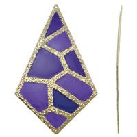 Moda wisiorki żelaza, żelazo, Romb, Platerowane w kolorze złota, emalia, fioletowy, bez zawartości niklu, ołowiu i kadmu, 51x85x1mm, otwór:około 1mm, 10komputery/torba, sprzedane przez torba