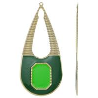 Moda wisiorki żelaza, żelazo, Łezka, Platerowane w kolorze złota, emalia, zielony, bez zawartości niklu, ołowiu i kadmu, 34x80x1mm, otwór:około 1.5mm, 10komputery/torba, sprzedane przez torba