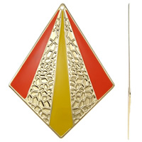 Moda wisiorki żelaza, żelazo, Romb, Platerowane w kolorze złota, emalia, wielokolorowy, bez zawartości niklu, ołowiu i kadmu, 64x85x1mm, otwór:około 2mm, 10komputery/torba, sprzedane przez torba