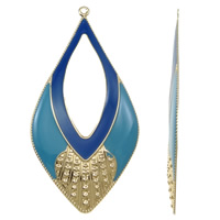 Fashion Iron Pendants, Horse Eye, gold color plated, enamel, blue, nickel, lead & cadmium free, 41x81x3mm, Hole:Approx 2mm, 10PCs/Bag, Sold By Bag