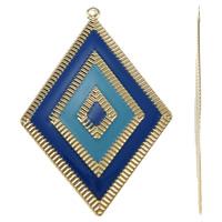 Moda wisiorki żelaza, żelazo, Romb, Platerowane w kolorze złota, emalia, niebieski, bez zawartości niklu, ołowiu i kadmu, 55x78x1mm, otwór:około 2mm, 10komputery/torba, sprzedane przez torba