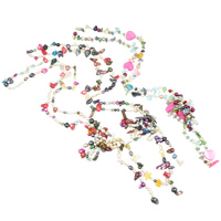 Crystal Freshwater Pearl Necklace, with Shell & Crystal, mixed colors, 5-27mm, Length:Approx 47 Inch, 14Strands/Bag, Sold By Bag
