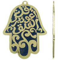 Zinklegering Hamsa Hangers, Zinc Alloy, gold plated, Joodse Jewelry & Islam sieraden & glazuur, lood en cadmium vrij, 74x98x2mm, Gat:Ca 4mm, 8pC's/Bag, Verkocht door Bag