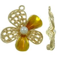 Wisior ze stopu cyku w kształcie kwiatu, Stop cynku, ze Perła szklana, Platerowane w kolorze złota, emalia, bez zawartości ołowiu i kadmu, 42x48x11mm, otwór:około 3.5mm, 10komputery/torba, sprzedane przez torba