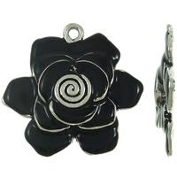 Wisior ze stopu cyku w kształcie kwiatu, Stop cynku, Platerowane kolorem starego srebra, emalia, czarny, bez zawartości ołowiu i kadmu, 47x45.50x6mm, otwór:około 3mm, sprzedane przez PC