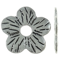 Zinc Alloy Spacer Beads, Flower, antique silver color plated, nickel, lead & cadmium free, 22x21x1.50mm, Hole:Approx 5mm, Approx 400PCs/KG, Sold By KG