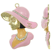 Character Shaped Zinc Alloy Pendants, Girl, gold color plated, enamel & with rhinestone, pink, nickel, lead & cadmium free, 52x68x11mm, Hole:Approx 4mm, 10PCs/Bag, Sold By Bag