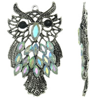 Zinc Alloy Animal Pendants, with Glass, Owl, antique silver color plated, with rhinestone, lead & cadmium free, 44x74x7mm, Hole:Approx 3mm, 10PCs/Bag, Sold By Bag