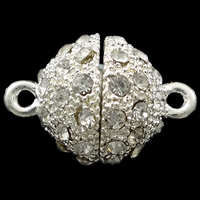 Zinc Alloy Magnetic Clasp, Round, silver color plated, with rhinestone & single-strand, nickel, lead & cadmium free, 18x12mm, Hole:Approx 1.5mm, 5PCs/Bag, Sold By Bag