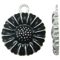Wisior ze stopu cyku w kształcie kwiatu, Stop cynku, Platerowane w kolorze srebra, emalia, czarny, bez zawartości niklu, ołowiu i kadmu, 15x18x2mm, otwór:około 2mm, 10komputery/torba, sprzedane przez torba