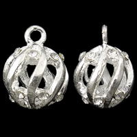 Zinklegering holle hangers, Zinc Alloy, Ronde, silver plated, met strass, nikkel, lood en cadmium vrij, 15x18mm, Gat:Ca 2.5mm, 10pC's/Bag, Verkocht door Bag