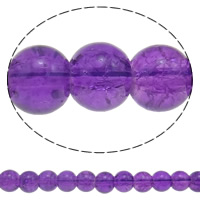 Crackle Glass Beads, Round, purple, 8mm, Hole:Approx 1.5mm, Length:Approx 15.7 Inch, 10Strands/Bag, Sold By Bag