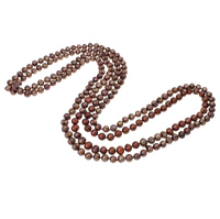 Natural Freshwater Pearl Necklace 2-strand coffee color 7-10mm Sold Per Approx 76 Inch Strand
