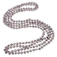 Natural Freshwater Pearl Necklace 2-strand purple 4-7mm Sold Per Approx 62.5 Inch Strand