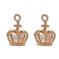 Cubic Zirconia Micro Pave Brass Pendant with Cubic Zirconia Crown rose gold color plated faceted nickel lead   cadmium free 11x17x11.50mm Hole:Approx 2mm 50PCs/Lot