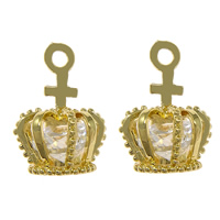 Cubic Zirconia Micro Pave Brass Pendant with Cubic Zirconia Crown gold color plated faceted nickel lead   cadmium free 11x17x11.50mm Hole:Approx 2mm 50PCs/Lot