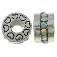 Zinc Alloy European Beads, Drum, antique silver color plated, with heart pattern & without troll & with rhinestone, nickel, lead & cadmium free, 13x8mm, Hole:Approx 5mm, 10PCs/Bag, Sold By Bag