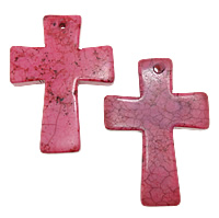 Turquoise Pendant, Cross, red, 33x44x5mm, Hole:Approx 1.5mm, 30PCs/Lot, Sold By Lot