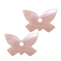 Wisiorki z naturanej różowej muszli, Muszla różowa, Motyl, 24x16x2mm, otwór:około 2.8mm, 20komputery/wiele, sprzedane przez wiele