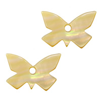 Natural Yellow Shell Pendants Butterfly 23.50x15x2mm Hole:Approx 2.8mm 20PCs/Lot