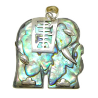 Natural Abalone Shell Pendants, with Brass, Elephant, platinum color plated, 23x25.50x5mm, Hole:Approx 4x5mm, 5PCs/Lot, Sold By Lot