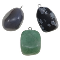 Mixed Gemstone Pendants, with Brass, 22-31mm, Hole:Approx 2.5mm, 20PCs/Bag, Sold By Bag