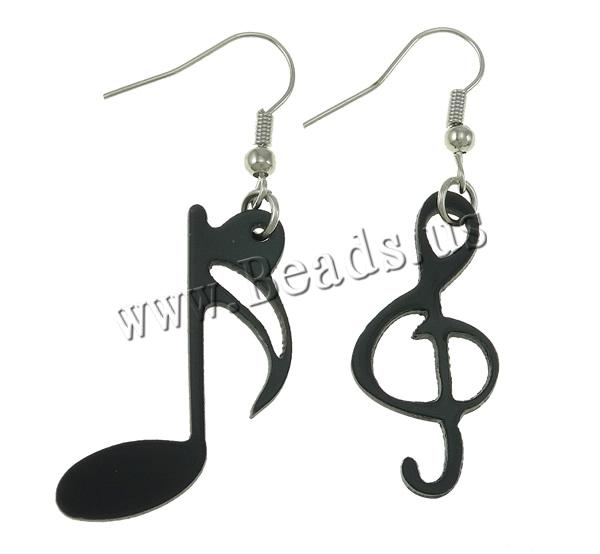 Plastic Drop Earring iron earring hook Music Note platinum color plated black 22x30x1.5mm 14x30x2mm Sold Pair