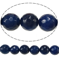 Natural Blue Agate Beads, Round, faceted, 10mm, Hole:Approx 1.5mm, Length:Approx 15 Inch, 10Strands/Lot, 38/Strand, Sold By Lot
