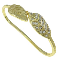 Zinc Alloy Children Bangle, Leaf, gold color plated, with rhinestone, nickel, lead & cadmium free, 76x45x20mm, Length:Approx 4 Inch, Sold By PC