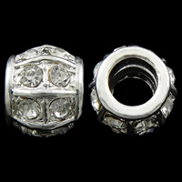 Zinc Alloy European Beads, Drum, silver color plated, with troll & with rhinestone, nickel, lead & cadmium free, 11x13mm, Hole:Approx 7mm, 10PCs/Bag, Sold By Bag