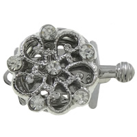 Zinc Alloy Box Clasp, Flower, platinum color plated, with rhinestone & single-strand, nickel, lead & cadmium free, 21x14x6mm, Hole:Approx 1.5mm, 10PCs/Bag, Sold By Bag