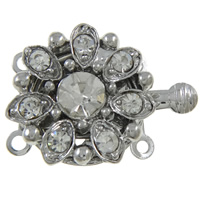 Zinc Alloy Box Clasp, Flower, platinum color plated, with rhinestone & 2-strand, nickel, lead & cadmium free, 21x15x6mm, Hole:Approx 1mm, 10PCs/Bag, Sold By Bag