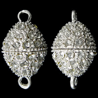 Zinc Alloy Magnetic Clasp, Oval, silver color plated, with rhinestone & single-strand, nickel, lead & cadmium free, 25x14mm, Hole:Approx 2mm, 10PCs/Bag, Sold By Bag