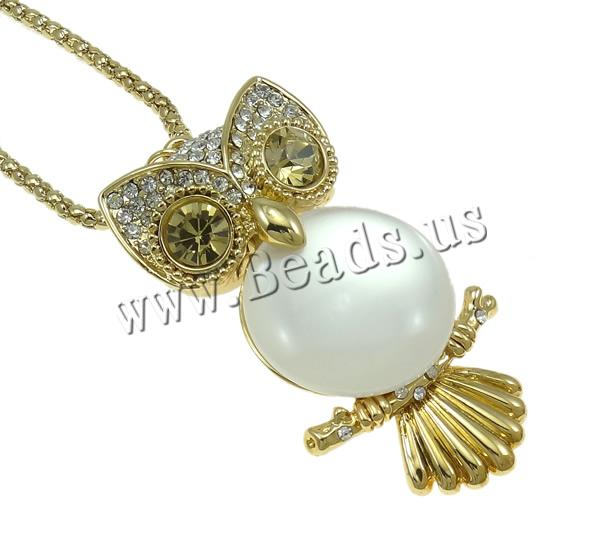 Buy Zinc Alloy Jewelry Necklace iron chain & Cats Eye Owl gold color plated lantern chain & rhinestone & hollow nickel lead & cadmium free 32x65x20mm Sold Per Approx 28 Inch Strand