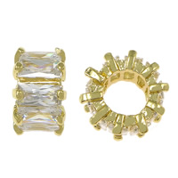 Cubic Zirconia Micro Pave Brass Beads, Rondelle, gold color plated, micro pave cubic zirconia & large hole, nickel, lead & cadmium free, 6.50x11mm, Hole:Approx 6mm, 20PCs/Lot, Sold By Lot