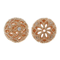 Cubic Zirconia Micro Pave Brass Beads, Round, rose gold color plated, micro pave cubic zirconia & hollow, nickel, lead & cadmium free, 12mm, Hole:Approx 1.2mm, 30PCs/Lot, Sold By Lot