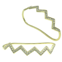 Zinc Alloy Children Bangle, gold color plated, with rhinestone, nickel, lead & cadmium free, 78x45x13mm, Length:Approx 4.5 Inch, Sold By PC