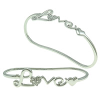 Zinc Alloy Children Bangle, word love, platinum color plated, with rhinestone, nickel, lead & cadmium free, 80x40x12mm, Length:Approx 4 Inch, Sold By PC