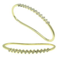 Zinc Alloy Children Bangle, gold color plated, with rhinestone, nickel, lead & cadmium free, 77x45x6mm, Length:Approx 4.5 Inch, Sold By PC
