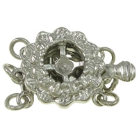 Zinc Alloy Box Clasp, Flower, platinum color plated, 3-strand, nickel, lead & cadmium free, 12x18x7mm, Hole:Approx 2mm, 10PCs/Bag, Sold By Bag