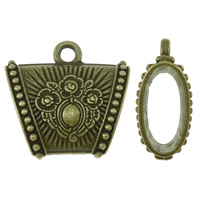 Zinc Alloy Scarf Slide Bail, Trapezium, antique bronze color plated, with flower pattern, lead & cadmium free, 39x37x16mm, Hole:Approx 5mm, Sold By PC