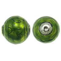 Copper Coated Plastic Beads, Round, antique silver color plated, enamel, green, lead & cadmium free, 35x35mm, Hole:Approx 4.5mm, Sold By PC