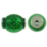 Copper Coated Plastic Beads, Drum, antique silver color plated, enamel, deep green, lead & cadmium free, 30x37mm, Hole:Approx 4mm, Sold By PC