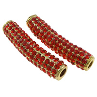 Rhinestone Jewelry Beads, Zinc Alloy, Tube, gold color plated, with rhinestone, red, nickel, lead & cadmium free, 38x11x9mm, Hole:Approx 4mm, 10PCs/Bag, Sold By Bag