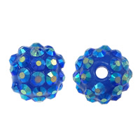Resin Rhinestone Beads, Round, colorful plated, dark blue, 14x16mm, Hole:Approx 2.5mm, 100PCs/Lot, Sold By Lot