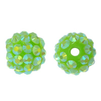 Resin Rhinestone Beads, Round, colorful plated, green, 14x16mm, Hole:Approx 2.5mm, 100PCs/Lot, Sold By Lot