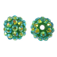 Resin Rhinestone Beads, Round, colorful plated, jungle green, 16x18mm, Hole:Approx 2.5mm, 100PCs/Lot, Sold By Lot