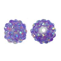 Resin Rhinestone Beads, Round, light purple, 16x18mm, Hole:Approx 2.5mm, 100PCs/Lot, Sold By Lot